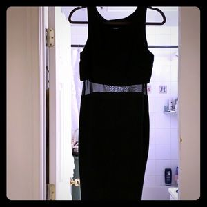 NEW WITH TAGS, black dress with mesh cut out